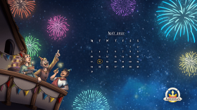 1366x769 px BBash 2021 desktop background calendar