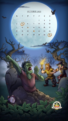 Halloween Hunt 2021 mobile background with Oct calendar