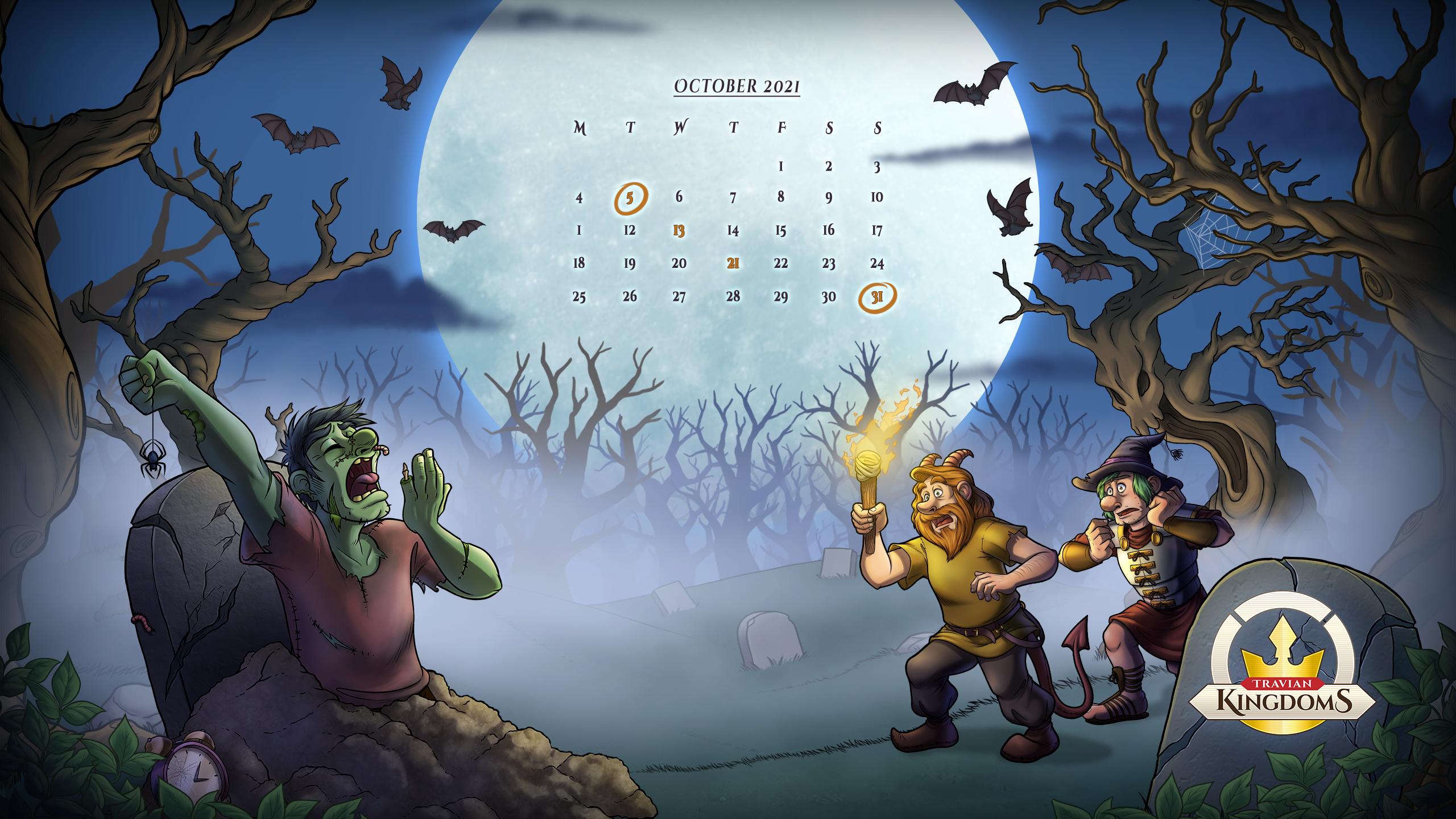 Halloween Hunt 2021 desktop background with Oct calendar